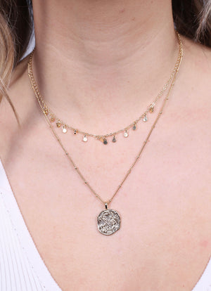 Maureen Double Layered Coin Necklace GOLD - Caroline Hill
