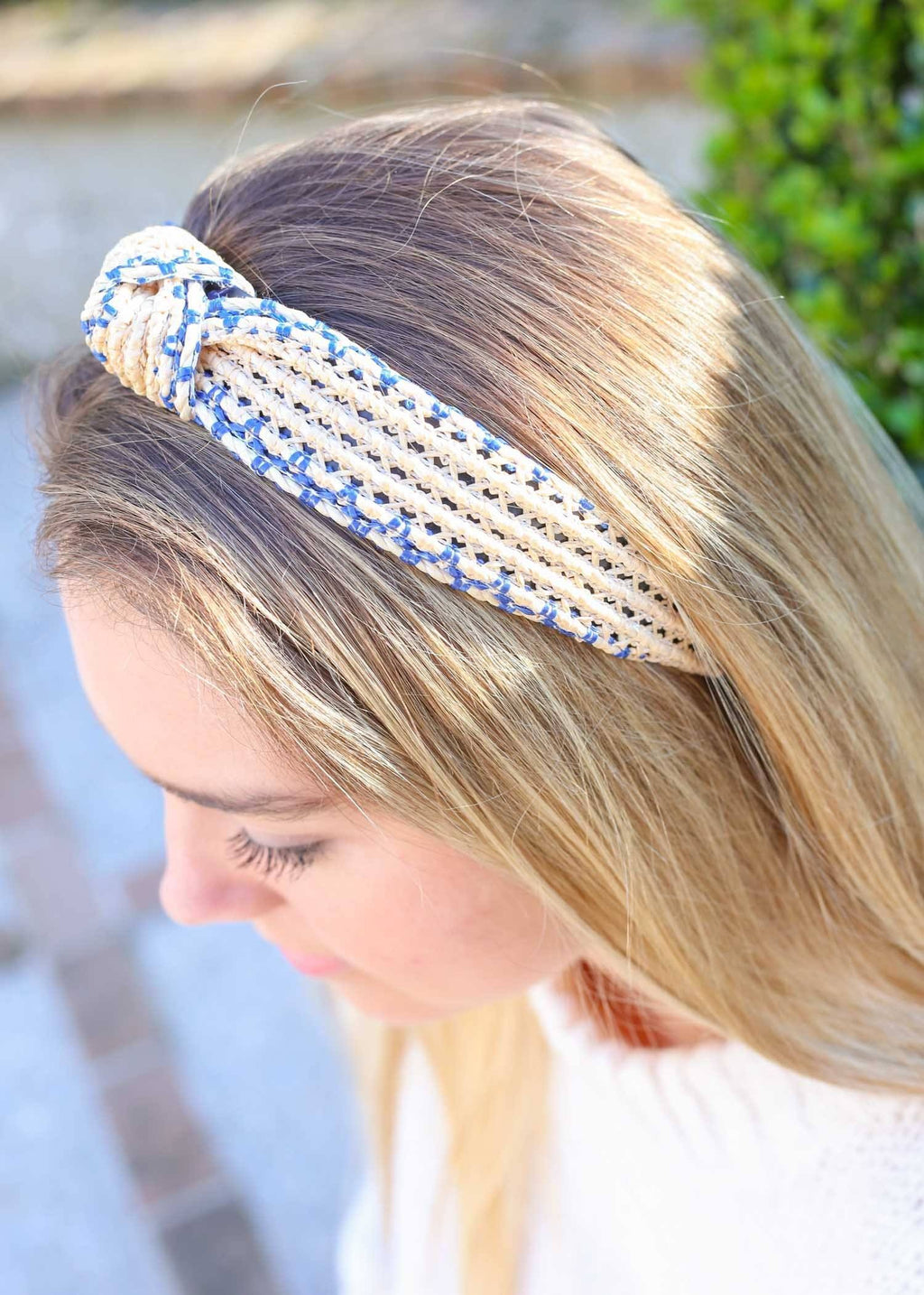 Maverick Blue Rattan Headband - Caroline Hill