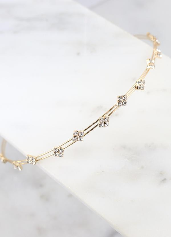Maxley Cz Metal Headband Gold - Caroline Hill