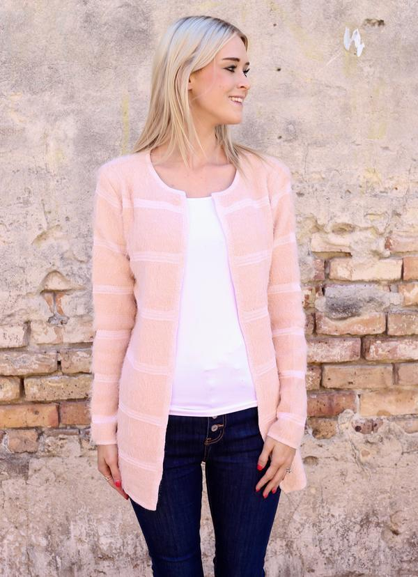 Maxwell Tone On Tone Striped Cardigan Pink - Caroline Hill
