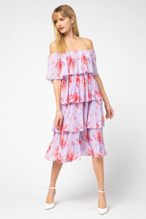May Flowers Lavender Pleated Dress - Caroline Hill