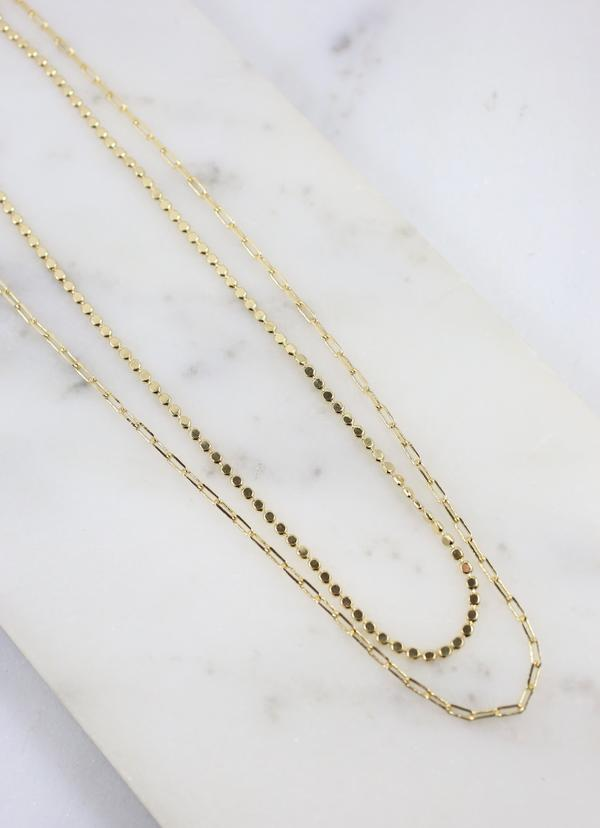 McKeon Gold Double Layered Necklace - Caroline Hill