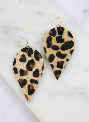 Melina Animal Print Earring Beige - Caroline Hill