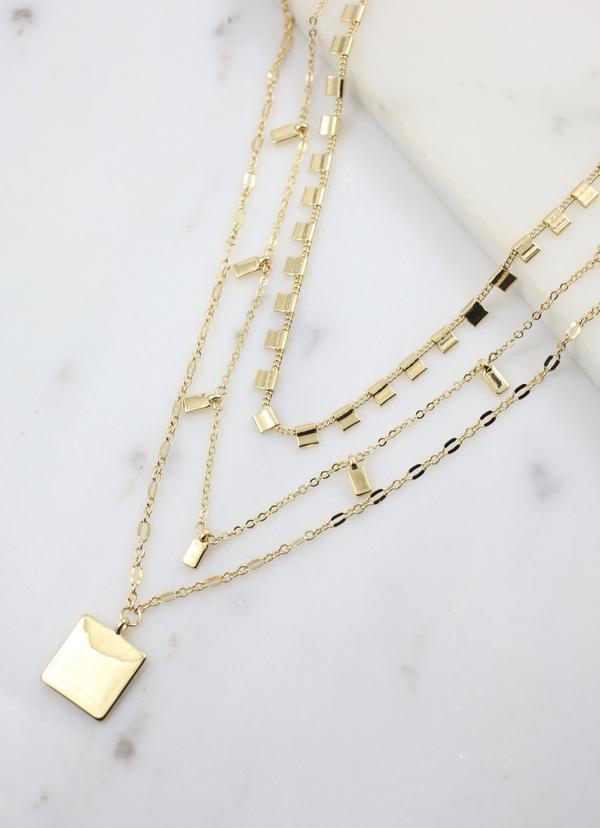 Melisa Layered Necklace With Square Charm Gold - Caroline Hill
