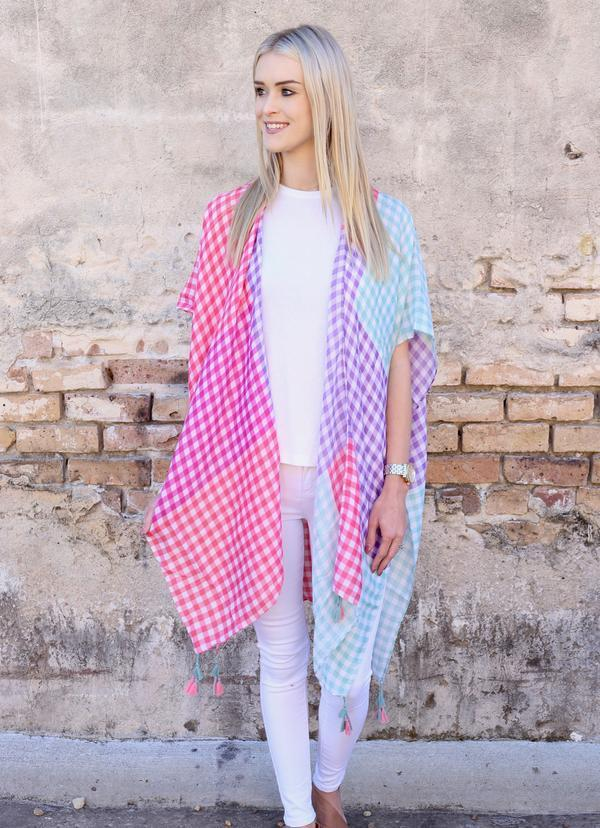 Melling Gingham Kimono With Tassels Multi - Caroline Hill