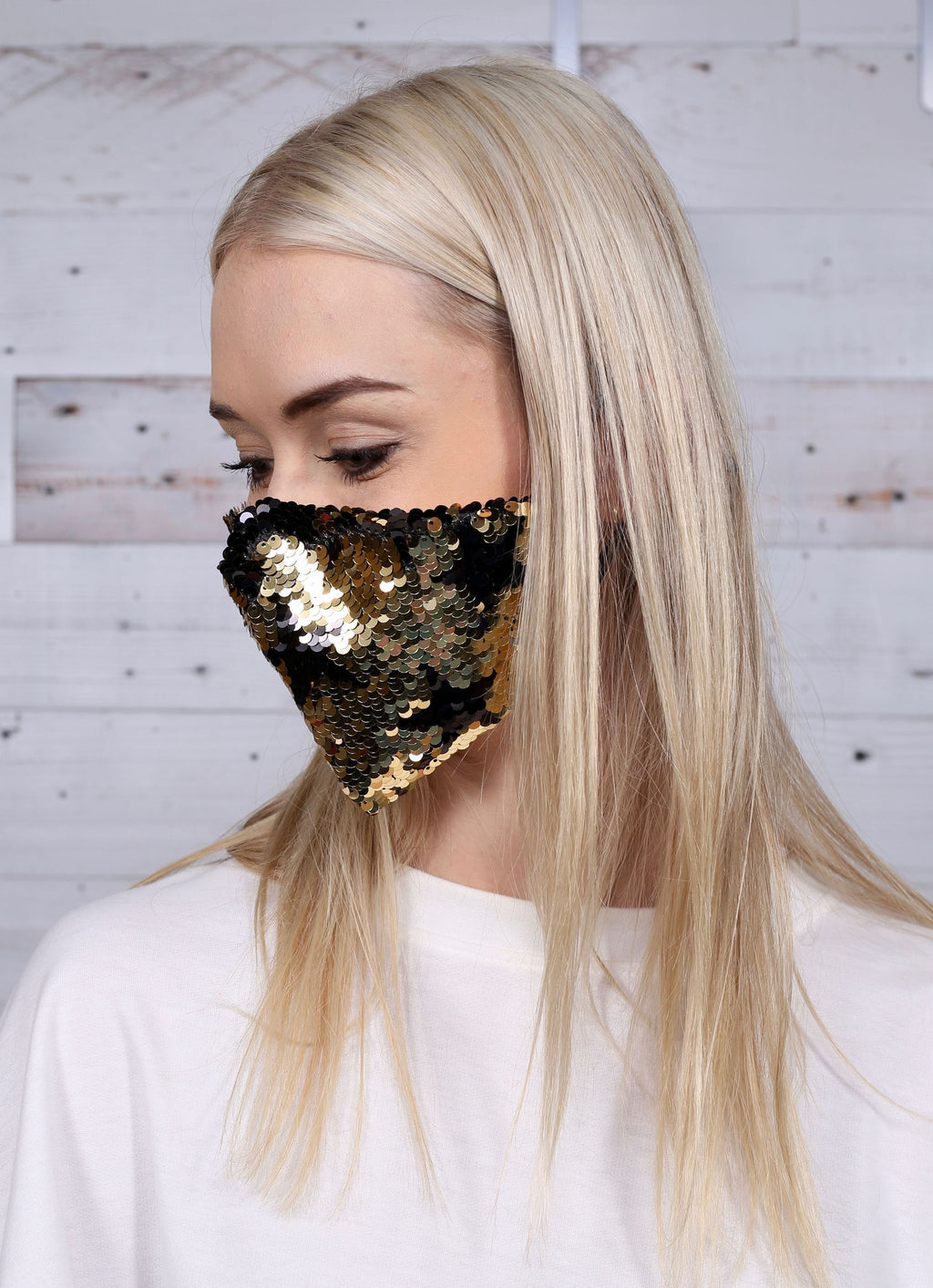 Mellor Reversible Sequin Star Face Mask Gold - Caroline Hill
