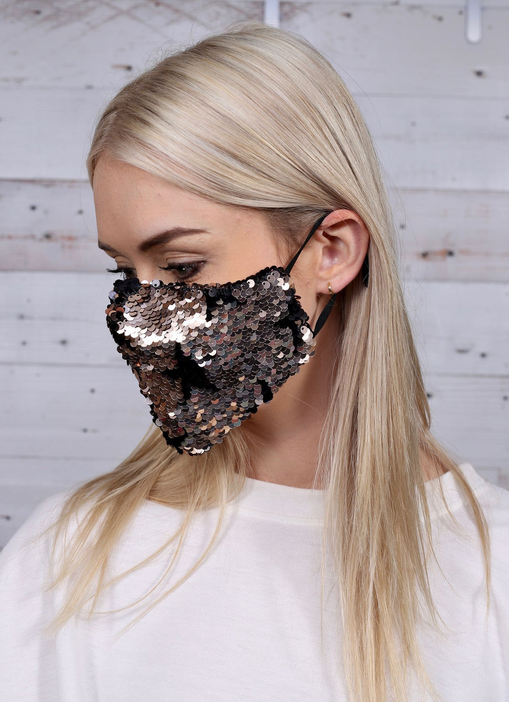 Mellor Reversible Sequin Star Face Mask Rose Gold - Caroline Hill