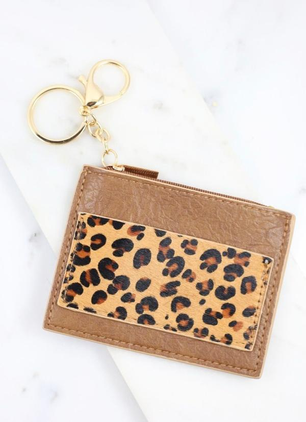 Melly Animal Print Wallet Keychain Brown - Caroline Hill
