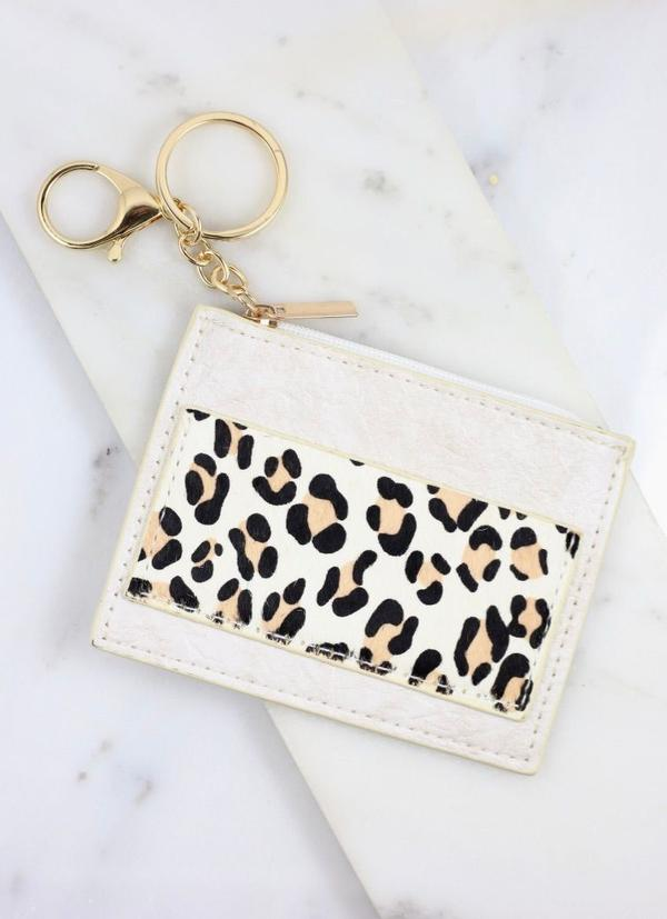 Melly Animal Print Wallet Keychain Ivory - Caroline Hill