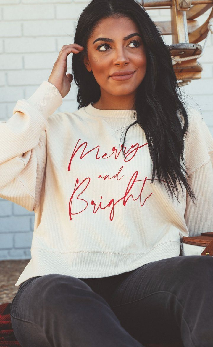 Merry and Bright Corded Crop Sweatshirt - Caroline Hill