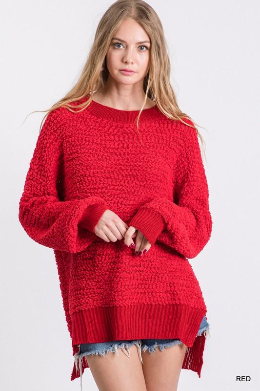 Merry and Bright Red Popcorn Sweater - Caroline Hill