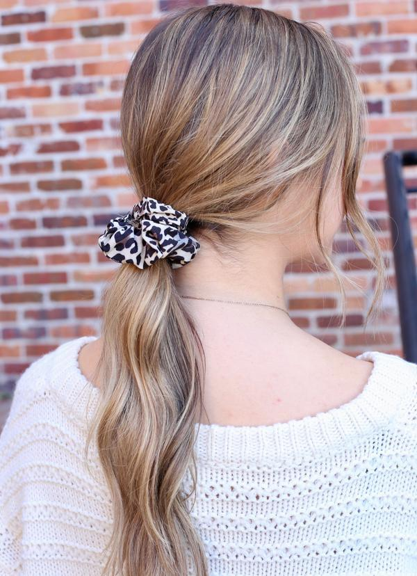 Meston Black Leopard Print Scrunchie - Caroline Hill
