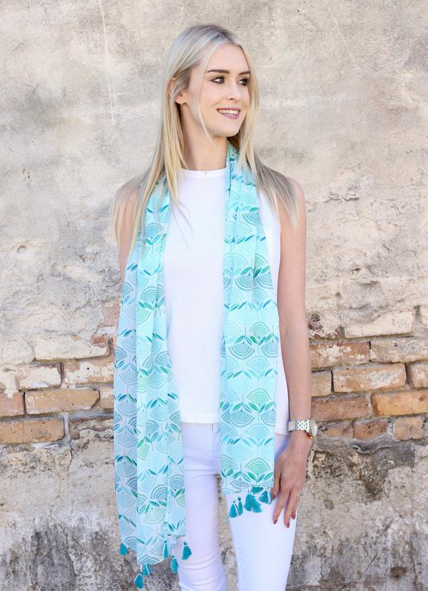 Metz Printed Scarf With Tassels Turquoise - Caroline Hill