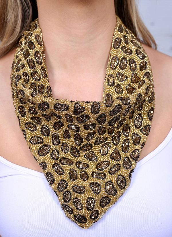 Milan Leopard Seed Bead Scarf Necklace Gold - Caroline Hill