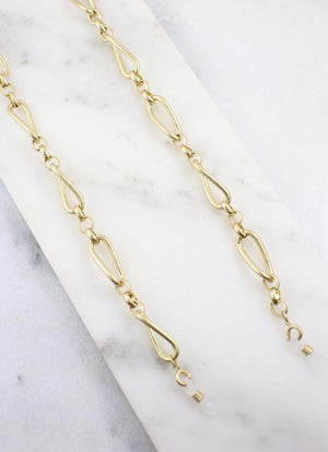 Mildread Link Mask Chain Necklace Worn Gold - Caroline Hill