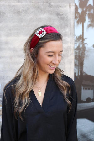 Miles Burgundy Velvet Headband With CZ Accent - Caroline Hill