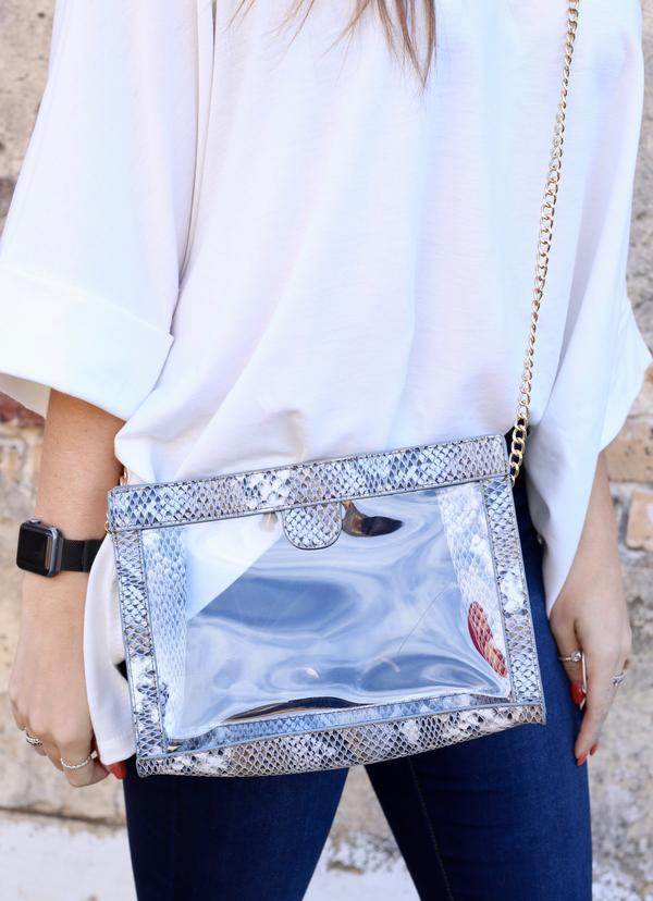 Miller Snake Denim Clear Bag - Caroline Hill