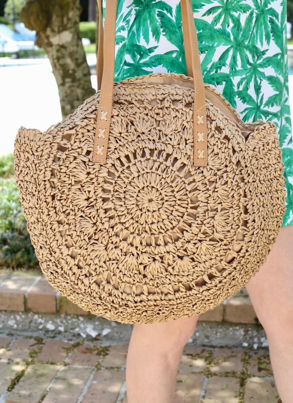 Mimi Round Straw Tote With Handle - Caroline Hill