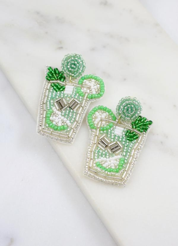 Mint Julep Beaded Earring Green - Caroline Hill