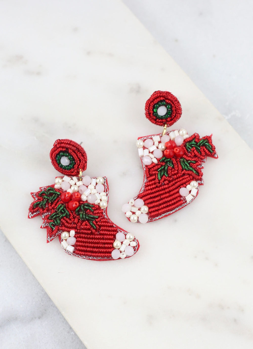 Mistletoe Mania Stockings Earring Red - Caroline Hill
