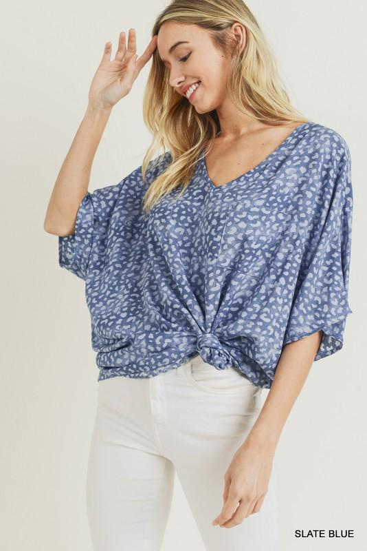 Mix It With Blue Leopard Top - Caroline Hill