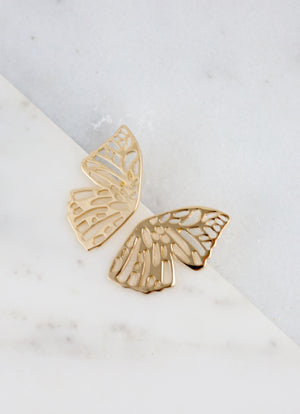 Mollie Gold Butterfly Wing Earring - Caroline Hill
