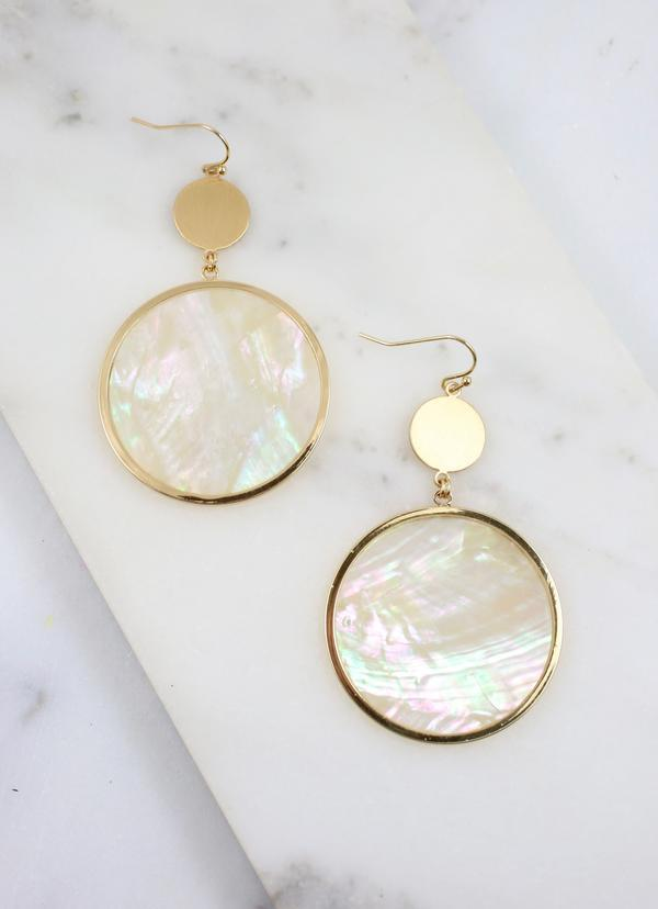 Mondrich Round Drop Earring White Shell - Caroline Hill