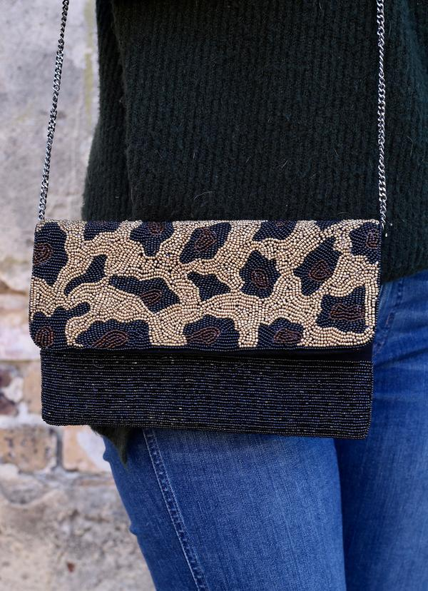 Murray Black Leopard Beaded Crossbody - Caroline Hill