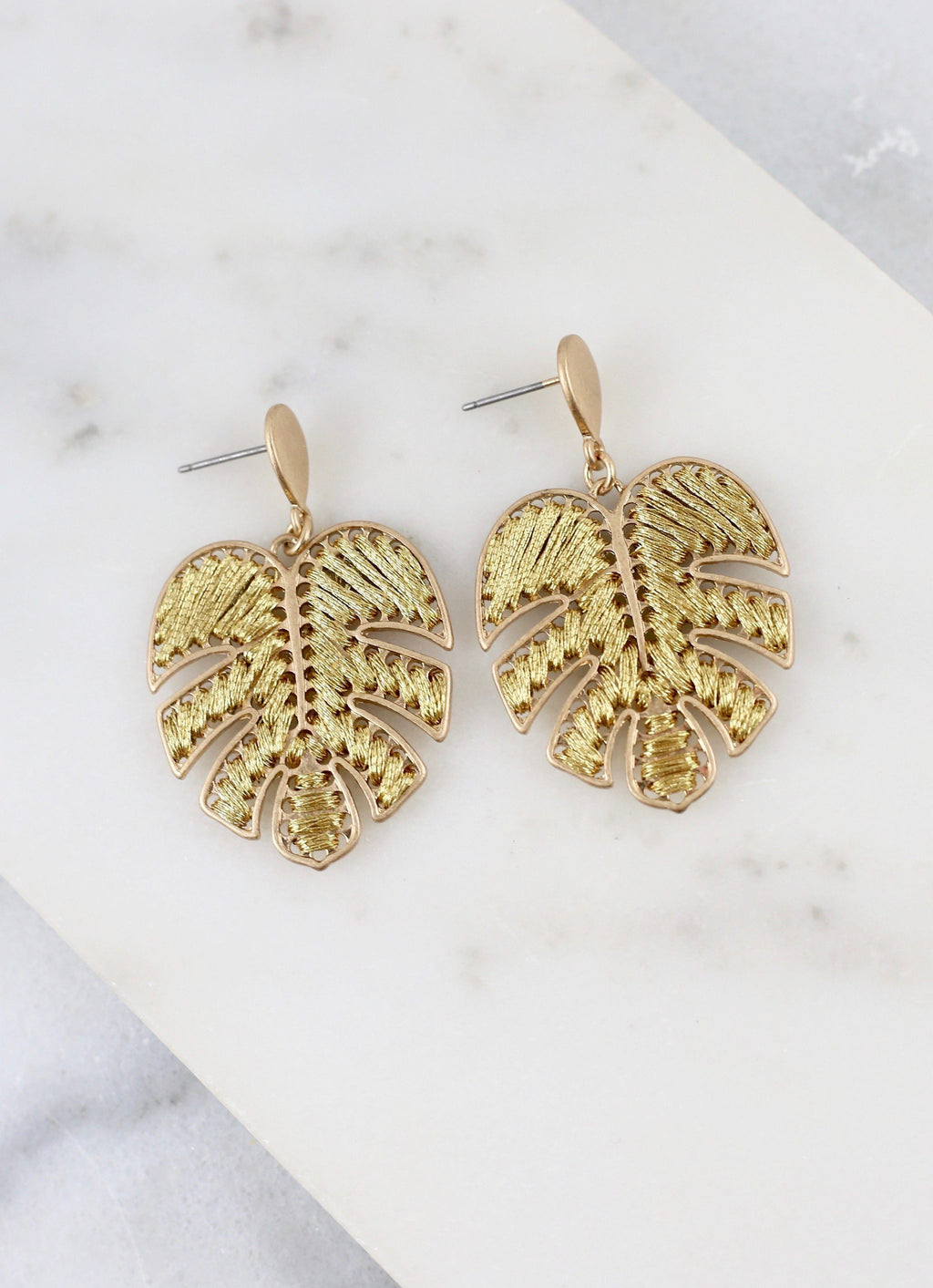 Murrie Gold Wrapped Palm Post Earring - Caroline Hill