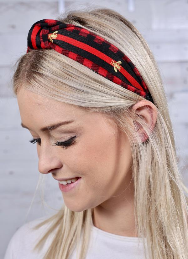 Nathan Red Plaid And Bee Headband - Caroline Hill
