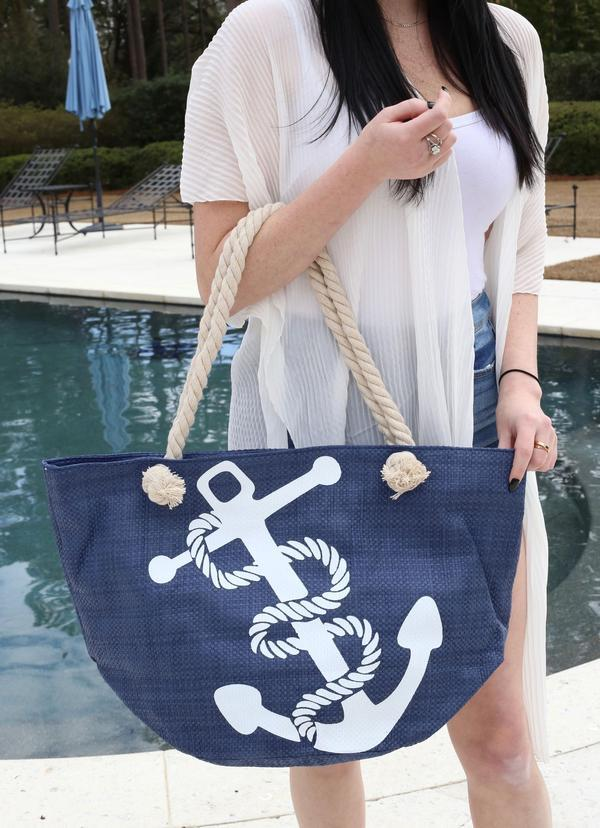 Nautical Anchor Straw Tote With Top Zipper Navy - Caroline Hill