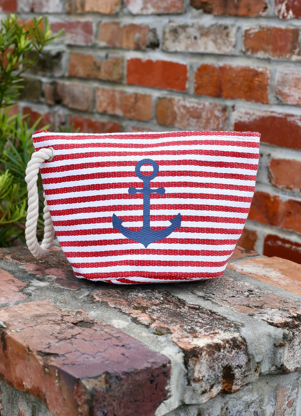 Nautical Striped Pouch With Anchor Red - Caroline Hill