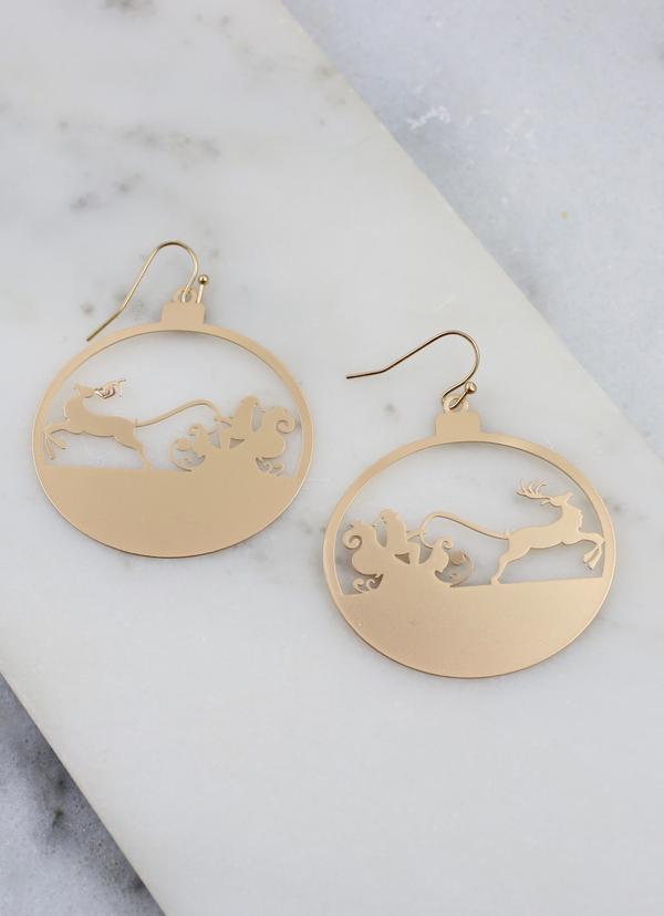 North Metal Santa Sleigh Earring Gold - Caroline Hill