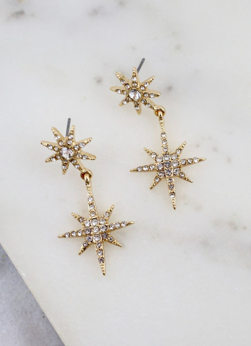 North Star Cz Post Earring Gold - Caroline Hill