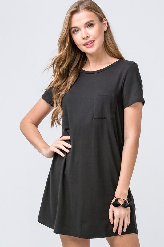 Nothing To It Black T-Shirt Dress - Caroline Hill