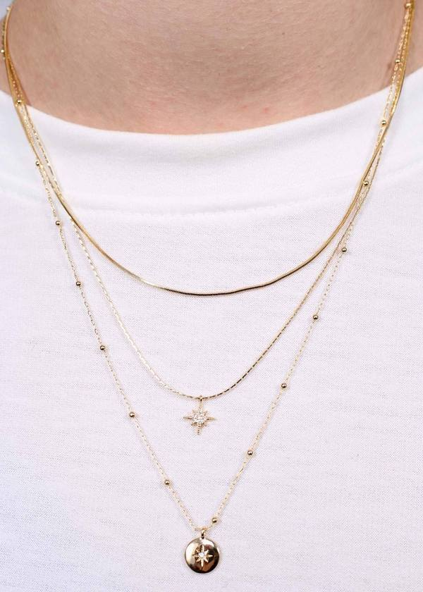 Oaklynn Layered Necklace Gold - Caroline Hill