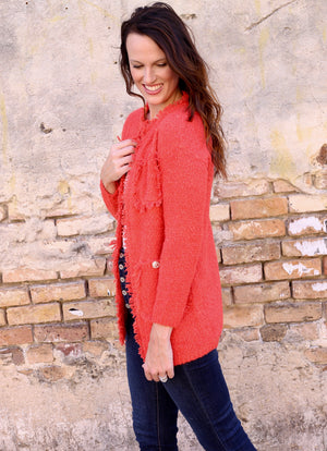 Oh So Stylish Button Embellished Orange Cardigan - Caroline Hill
