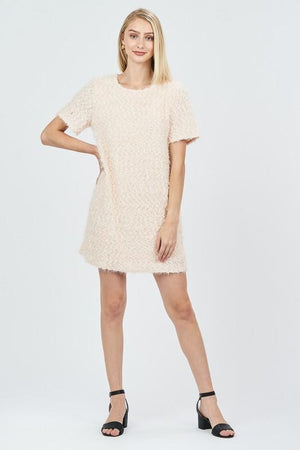 Oh What Fun Cream Textured Shift Dress - Caroline Hill