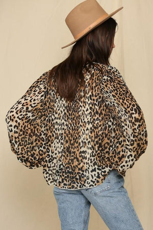 On My Best Behavior Leopard Pleated Top - Caroline Hill