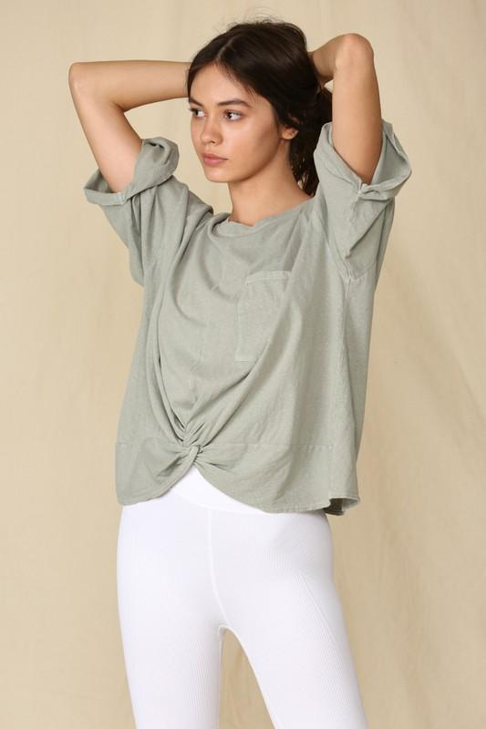 One For Me Moss Front Twist Tee - Caroline Hill
