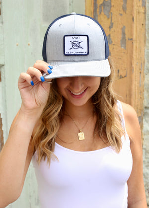 Original Trucker Hat Classic Logo- Heather Grey/Navy - Caroline Hill