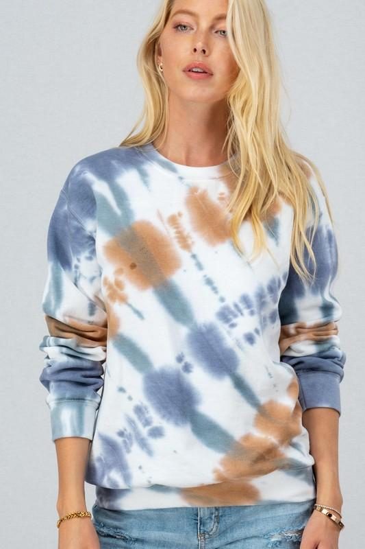 Over Your Head Blue Tie-Dye Sweatshirt - Caroline Hill