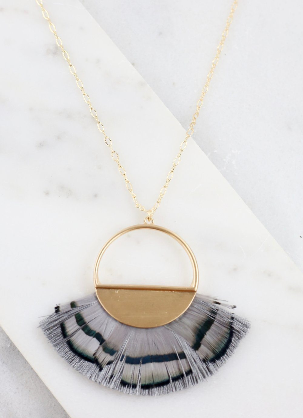 Owens Long Gray Feather Necklace - Caroline Hill