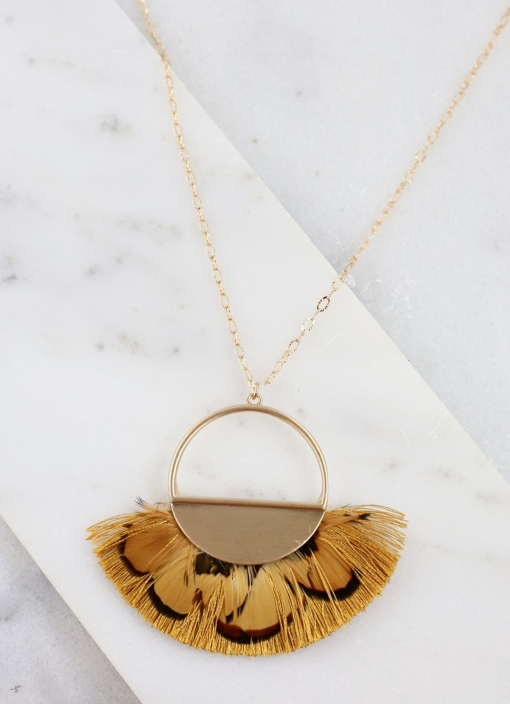 Owens Long Mustard Feather Necklace - Caroline Hill