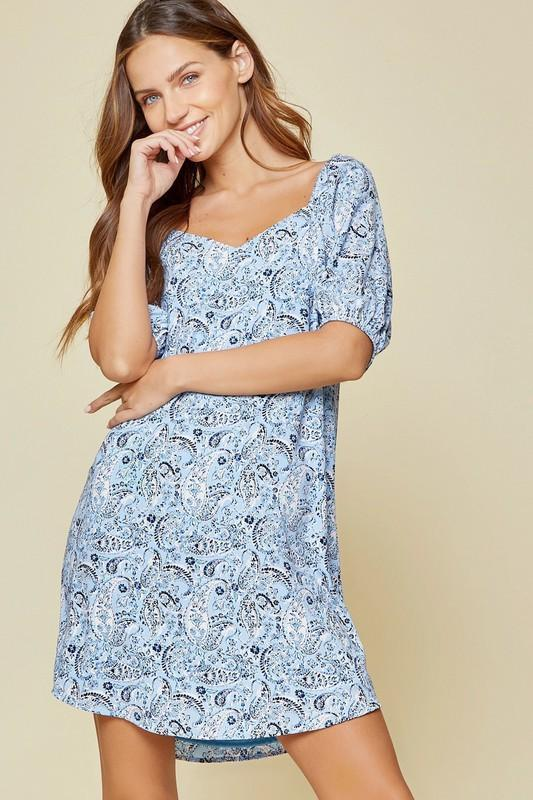 Paisley Blue Dress - Caroline Hill