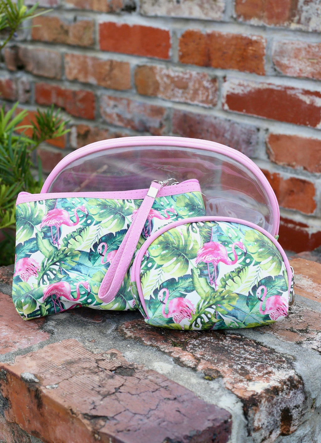 Palm And Flamingo Pouch 3 Piece Set Pink - Caroline Hill