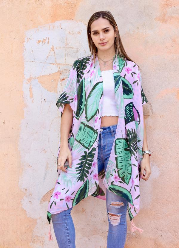 Palm Springs Pink Tropical Kimono - Caroline Hill