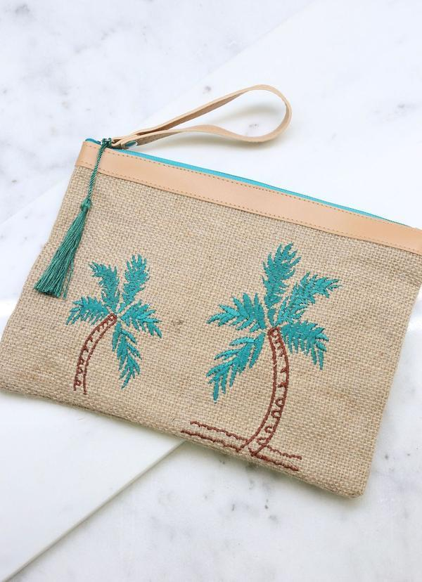Palm Tree Embroidered Jute Pouch Tan - Caroline Hill