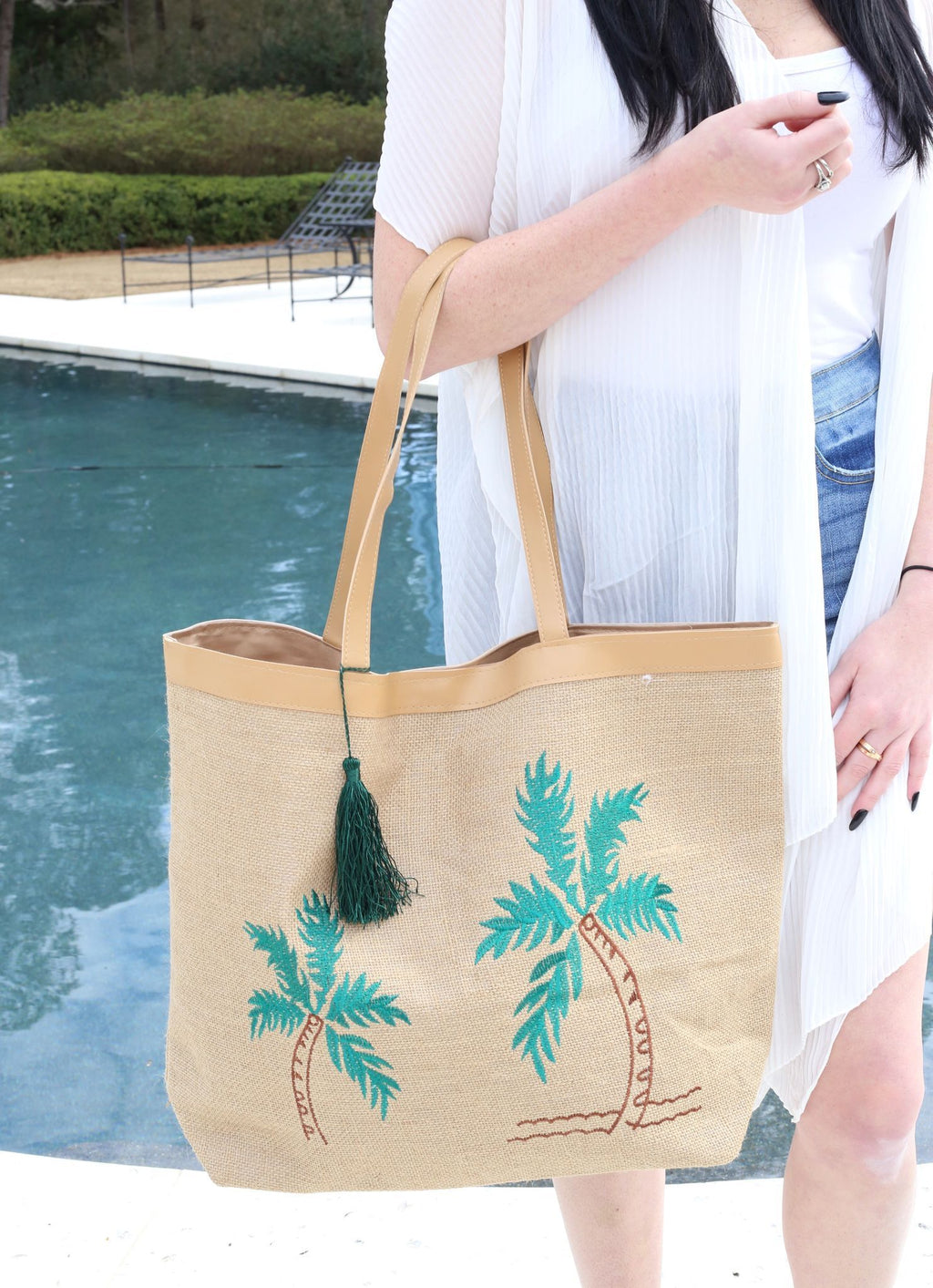 Palm Tree Embroidered Jute Tote - Caroline Hill