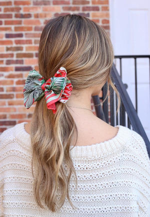 Pansy Palm Print Red Barrette - Caroline Hill